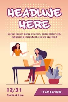 Mulher usando laptop e falando com um amigo, modelo de folheto