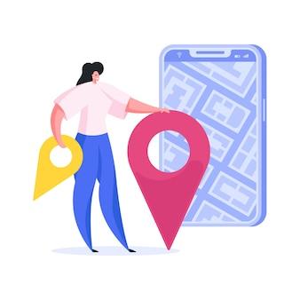 Mulher usando mapa online no smartphone. ilustração plana