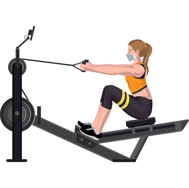 Mulher usando máquina de cabo sentado para construir os músculos abdominais