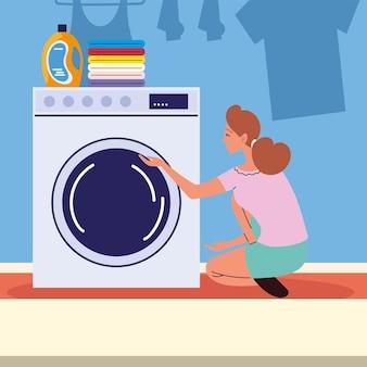 Mulher usando máquina de lavar