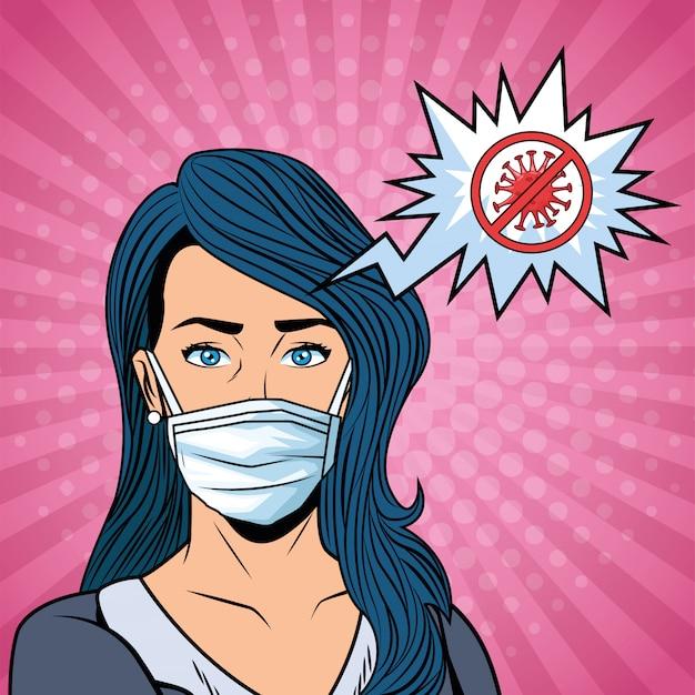 Mulher usando máscara facial e parar a mensagem covid19