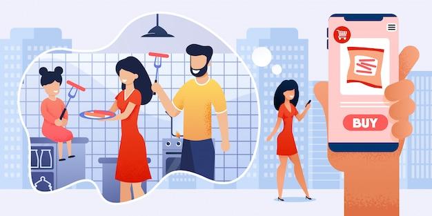 Mulher usando o mobile app para desenhos animados de compras on-line