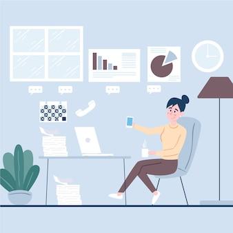 Mulher usando o telefone em vez de trabalhar