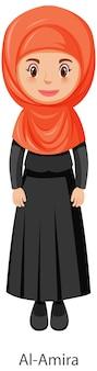 Mulher usando personagem de desenho animado com véu tradicional islâmico al-amira