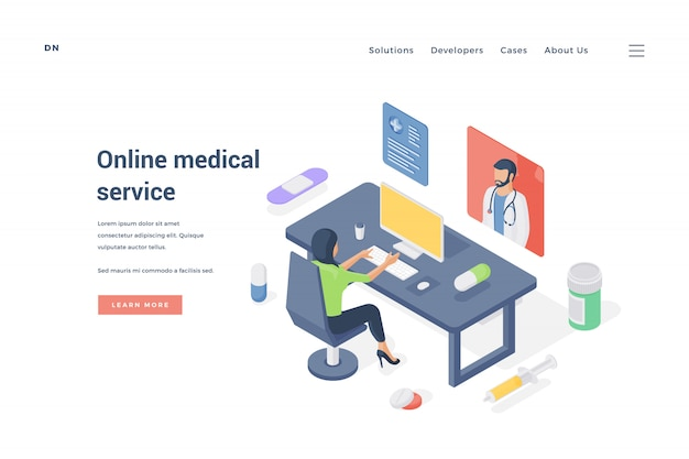 Mulher usando serviço médico on-line. ilustração isométrica