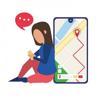 Mulher, usando, smartphone, tecnologia, caricatura