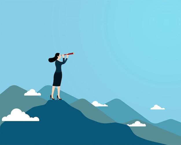 Mulher, usando, telescópio, ficar, topo, montanha