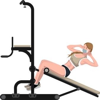 Mulher usando um banco sentado para construir os músculos abdominais