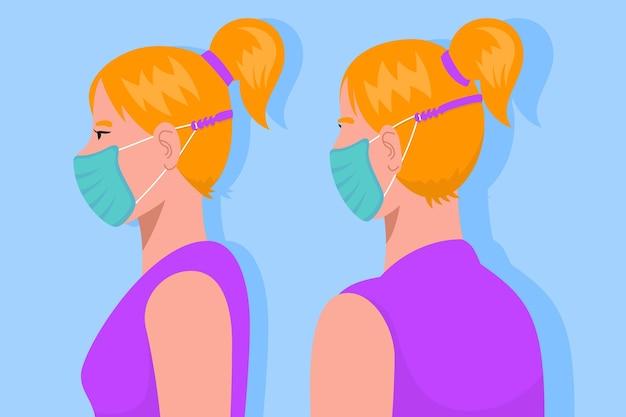 Mulher usando uma alça de máscara facial ajustável