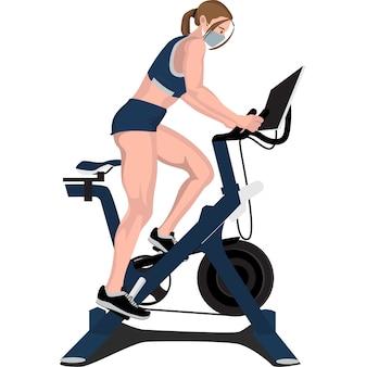Mulher usando uma bicicleta vertical na academia para fortalecer os músculos das pernas