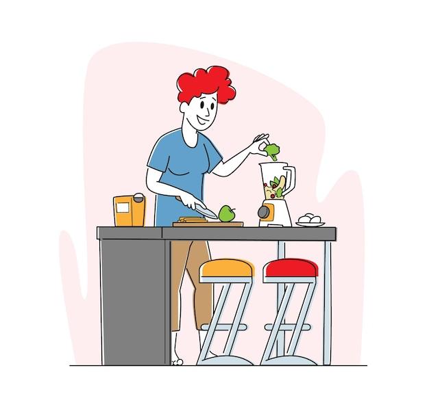 Mulher vegana cozinhando suco de frutas e vegetais coloque maçã e brócolis na máquina de espremedor.