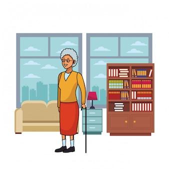 Mulher velha, com, cana, arranha-céus, silueta, cityscape