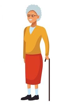 Mulher velha, com, cana
