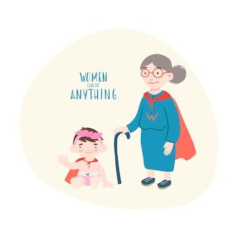 Mulher velha com menina em trajes de super herói