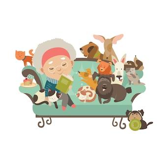 Mulher velha com seus gatos e cães
