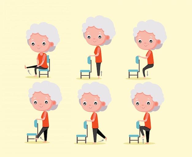 Mulher velha exercício