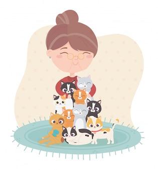 Mulher velha sorridente, abraçando a ilustração de muitos gatos