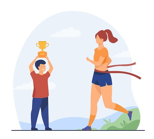 Mulher vencendo corrida em execução e menino segurando a xícara. ouro, corrida, ilustração plana de atleta. ilustração de desenho animado