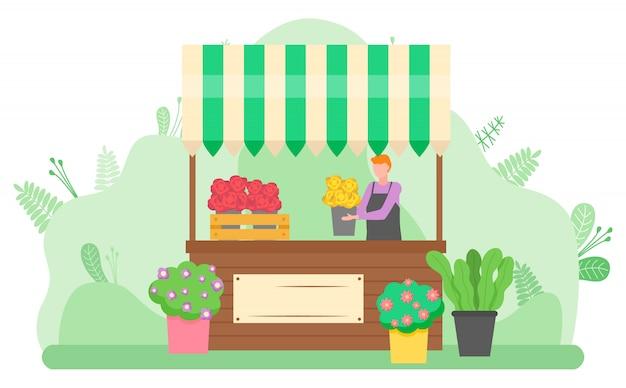 Mulher vendendo buquês de flores na rua