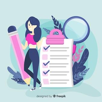 Mulher, verificar, gigante, lista de verificação, fundo