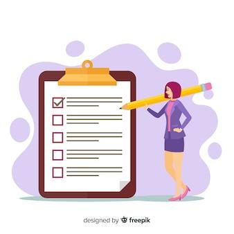 Mulher, verificar, lista cheque gigante