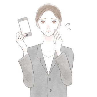 Mulher vestida com problemas com smartphone. sobre fundo branco.