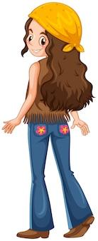 Mulher vestida com roupas hippie