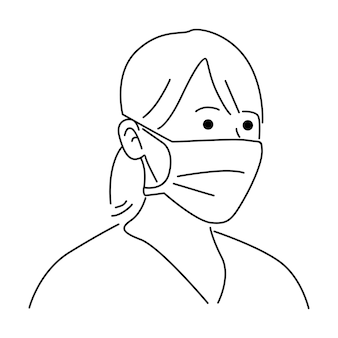Mulher vestindo máscara cirúrgica médica descartável