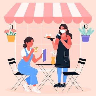 Mulher vestindo máscara médica e cliente