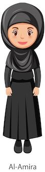 Mulher vestindo o véu tradicional islâmico al-amira personagem de desenho animado