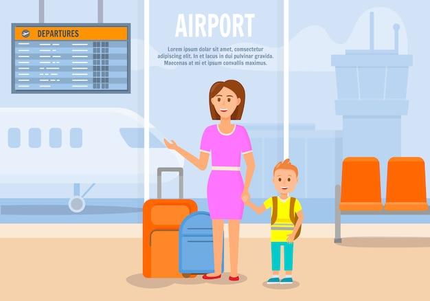 Mulher viajando junto com filho pequeno.