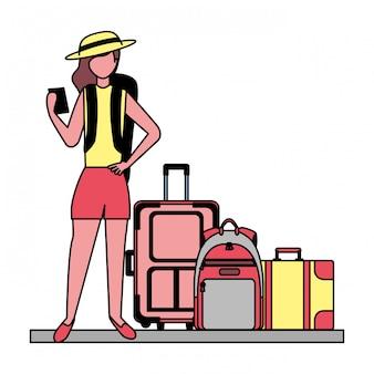 Mulher viajante, e, férias, bagagem