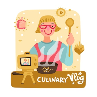 Mulher video blogueira cozinhando