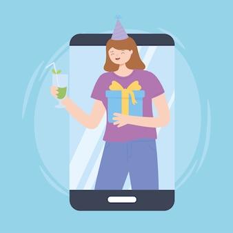 Mulher vídeo smartphone festa online com ilustração vetorial de bebida e presente