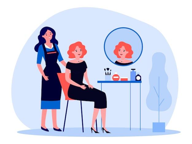 Mulher visitando maquiador