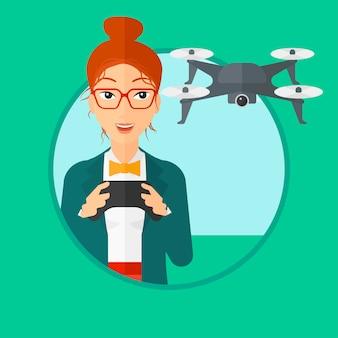 Mulher voando drone.