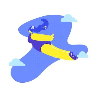Mulher voando, sonhando metáfora