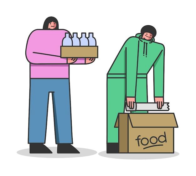 Mulher voluntária do conceito de doação de alimentos traz comida para trabalhador do abrigo
