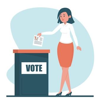 Mulher votando em um projeto de presidente