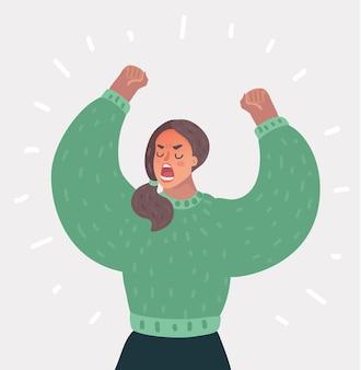 Mulher zangada levantando as mãos