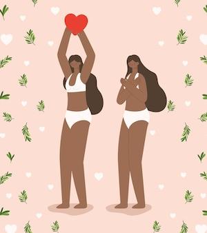 Mulheres afro emparelhar em roupa interior. conceito de diversidade
