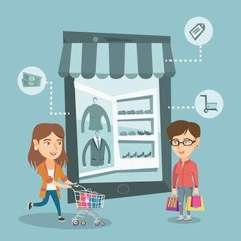 Mulheres andando na loja que se parece com um tablet.