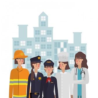 Mulheres avatares profissionais no design da cidade