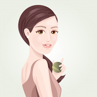 Mulheres bonitas apresentam pó cosmético