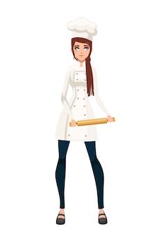 Mulheres bonitas chef com cabelos castanhos