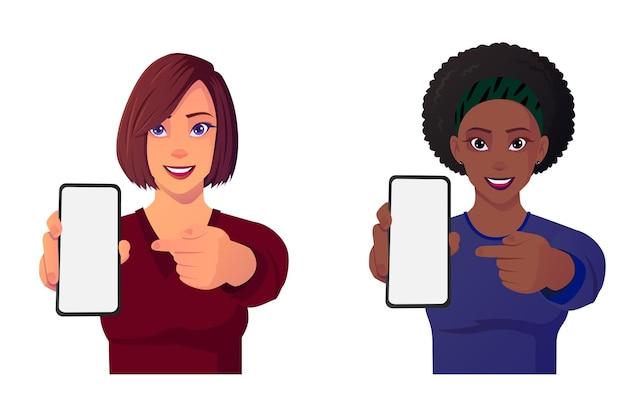 Mulheres bonitas de desenho animado apontando para o celular