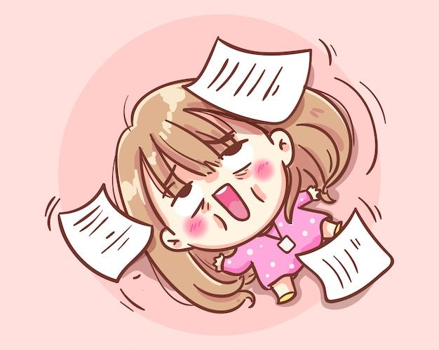 Mulheres bonitas de escritório trabalham duro e inconscientes no chão cartoon art illustration premium vector