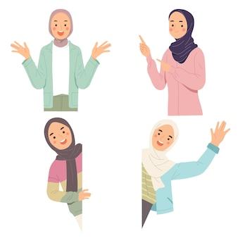 Mulheres bonitas de hijab com expressão de surpresa sorriso chocado