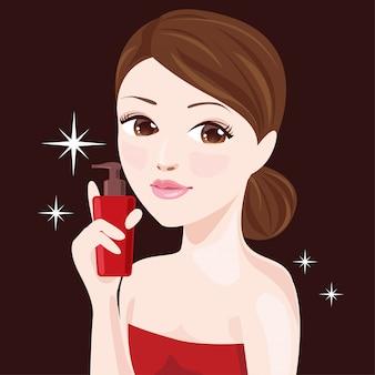 Mulheres bonitas e frasco de soro