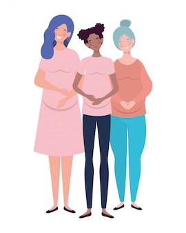 Mulheres bonitas grávidas em pé em branco